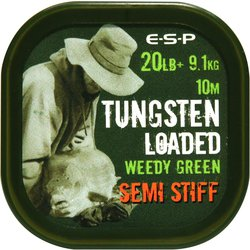 Поводковый материал E-S-P TUNGSTEN LOADED - SEMI STIFF - Weedy Green / 20lb / 10m